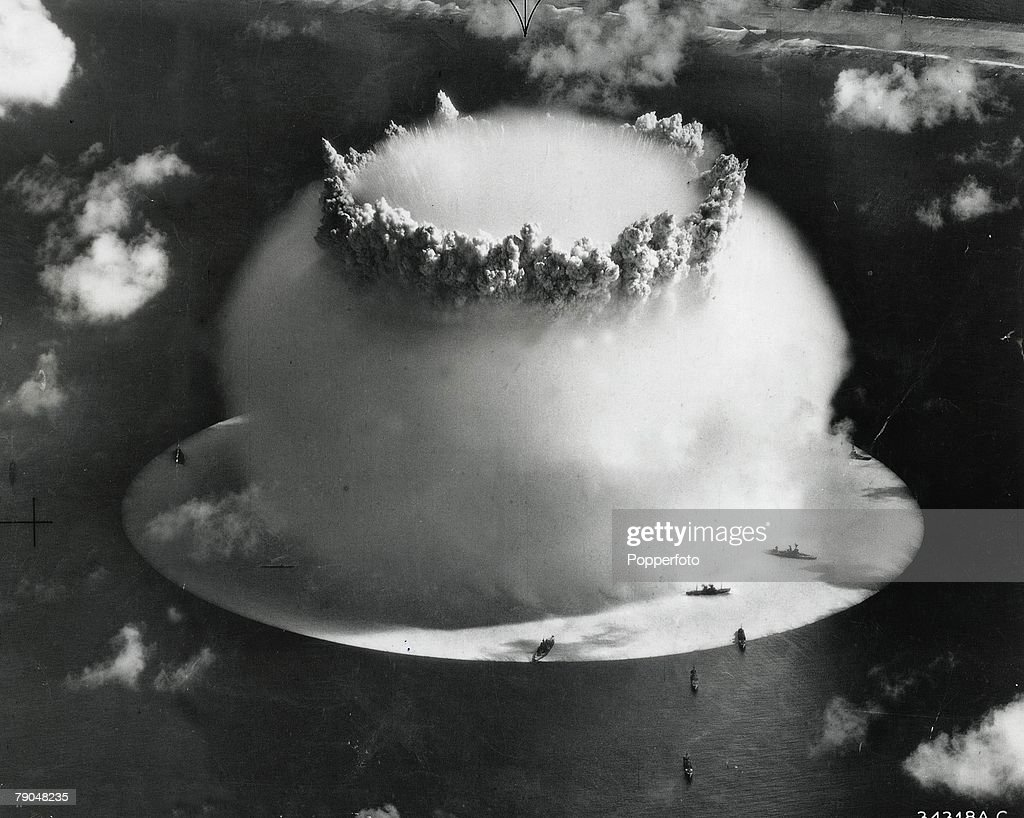 Atomic, Bikini Atoll, 25th July, 1946, A mushroom cloud has formed after the explosion of an atom bomb during United States nuclear testing in the Pacific Ocean