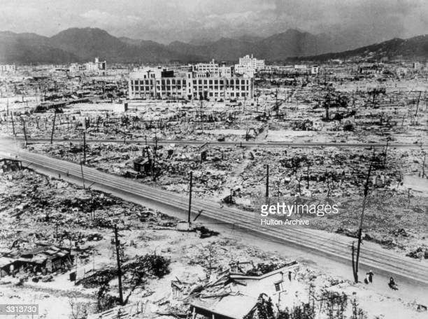 Atomic bomb damage in Hiroshima.