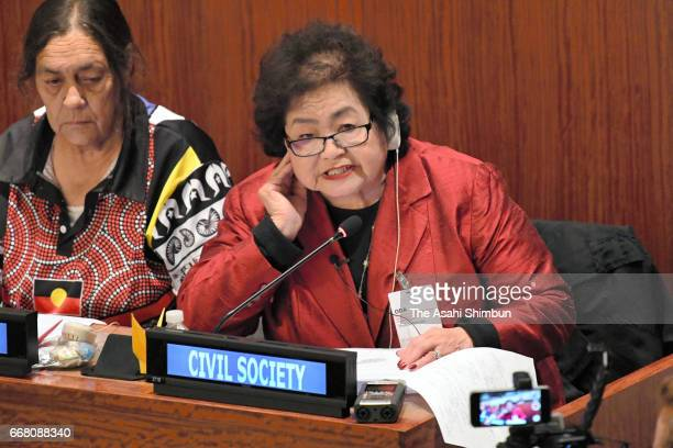 Atomic bomb survivor Setsuko Thurlow talks during the nuclear ban treaty discussion at the United Nations headquarters on March 28 2017 in New York...