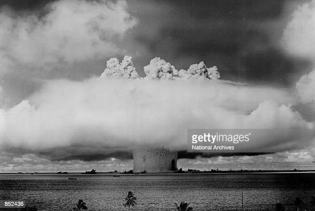 Atomic cloud rises July 25 1946 during the Baker Day blast at Bikini Island in the Pacific