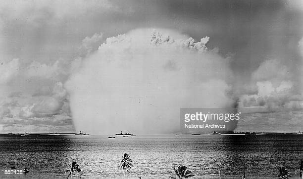 Atomic cloud rises July 25 1946 during the 'Baker Day' blast at Bikini Island in the Pacific