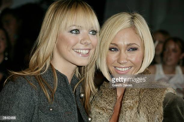 Atomic Kitten members Liz McClarnon and Jenny Frost attend the 2003 MTV Europe Music Awards at Ocean Terminal on November 6 2003 in Edinburgh Scotland
