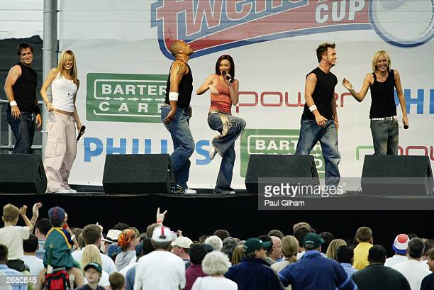 Atomic Kitten perform on stage before the first semifinal match of the Twenty20 Cup between Leicestershire and Warwickshire at Trent Bridge Cricket...