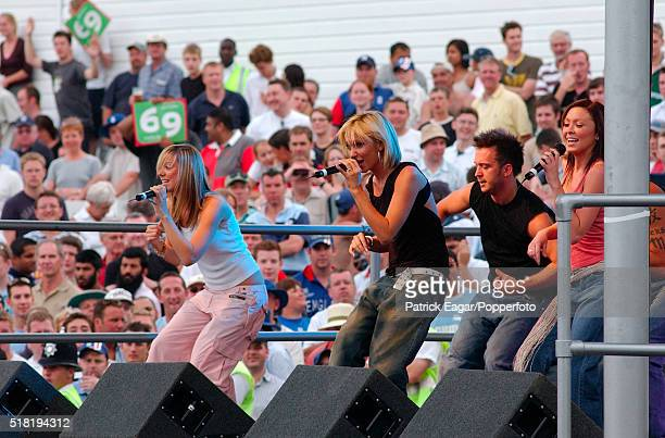 Atomic Kitten performing on stage during Twenty20 Finals Day at Trent Bridge Nottingham 19th July 2003