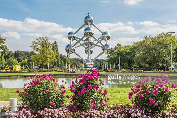 Atomium with Flowers in the foreground in Brussels, Belgium