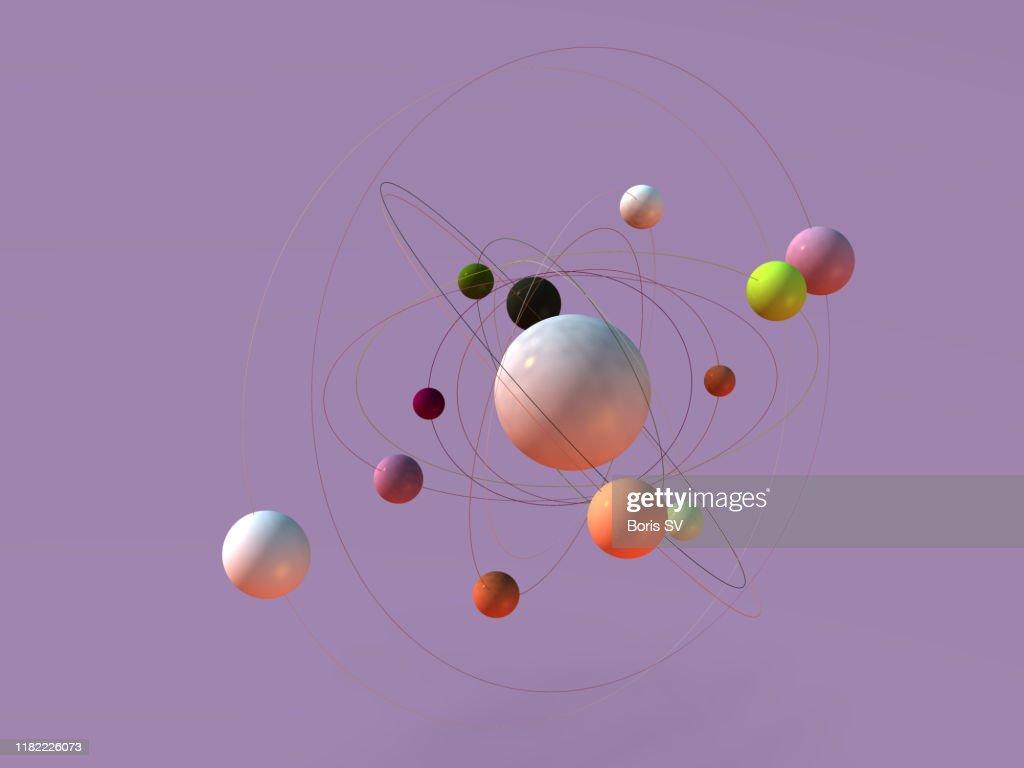 Atoms orbiting : Stock Photo
