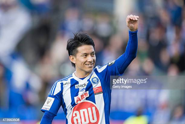 Atomu Tanaka of HJK Helsinki celebrates during the Finnish First Division match between HJK Helsinki and VPS Vaasa at Sonera Stadium on May 11 2015...