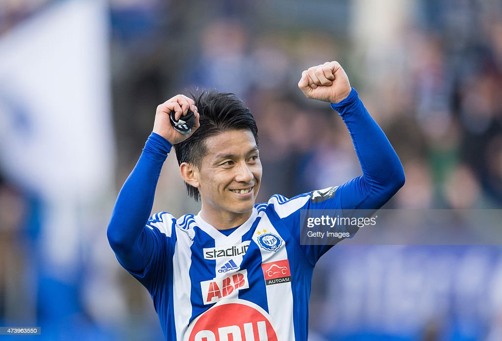 Atomu Tanaka of HJK Helsinki celebrates during the Finnish First Division match between HJK Helsinki and VPS Vaasa at Sonera Stadium on May 11, 2015 in Helsinki, Finland.