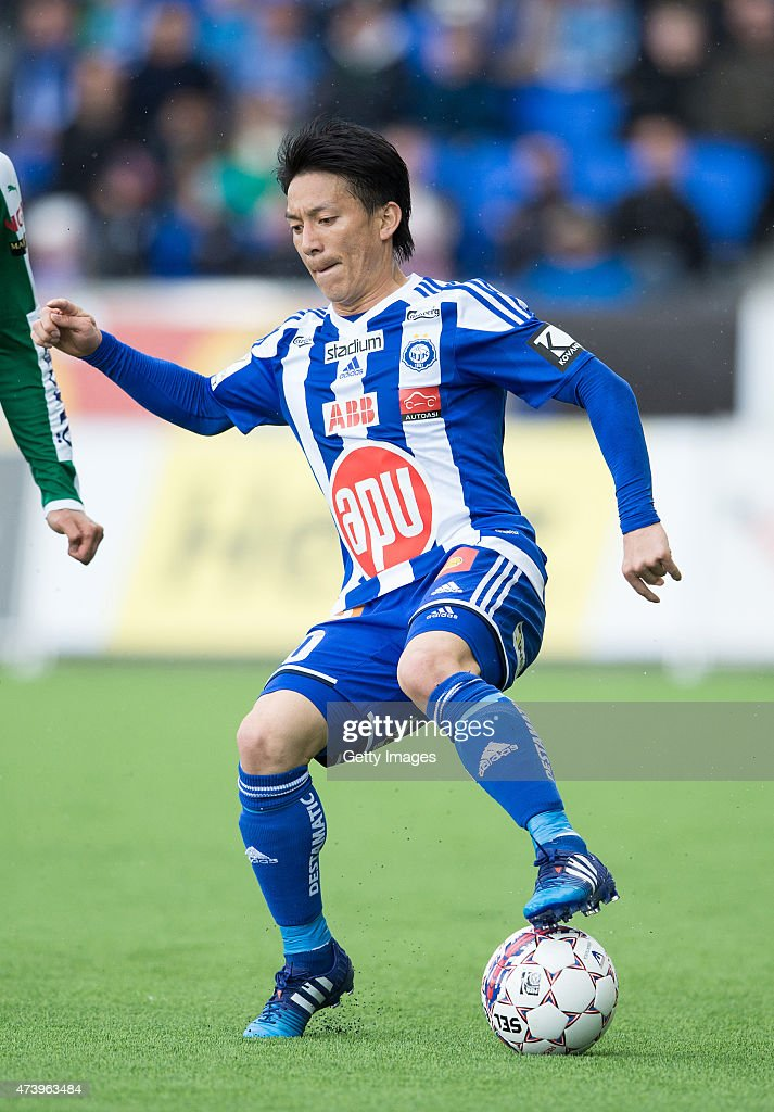 Atomu Tanaka of HJK Helsinki in action during the Finnish First Division match between HJK Helsinki and IFK Mariehamn at Sonera Stadium on May 14, 2015 in Helsinki, Finland.