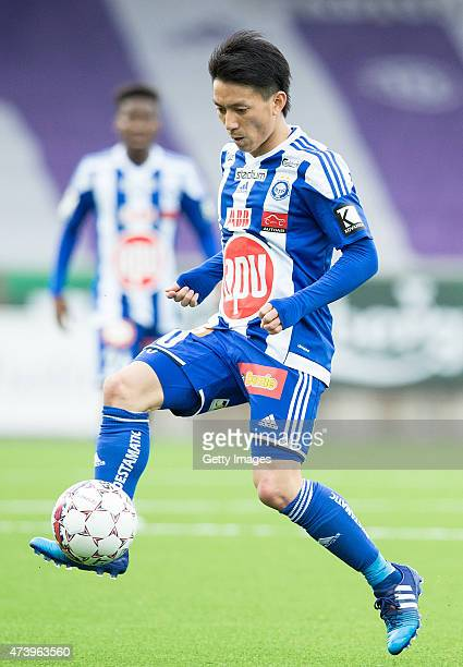 Atomu Tanaka of HJK Helsinki in action during the Finnish First Division match between HJK Helsinki and FC Lahti at Sonera Stadium on April 19 2015...