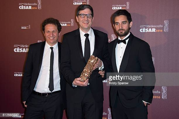 Aton Soumache Mark Osborne and Dimitri Rassam pose with their award for Best Animated Feature for the movie 'Le Petit Prince' during The Cesar Film...
