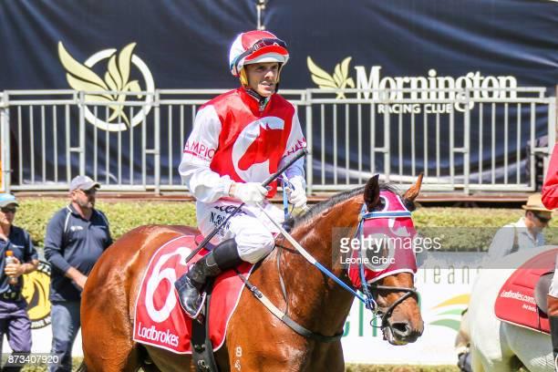 Atone ridden by Noel Callow returns after winningthe The Big Screen Company Plate at Mornington Racecourse on November 13 2017 in Mornington Australia