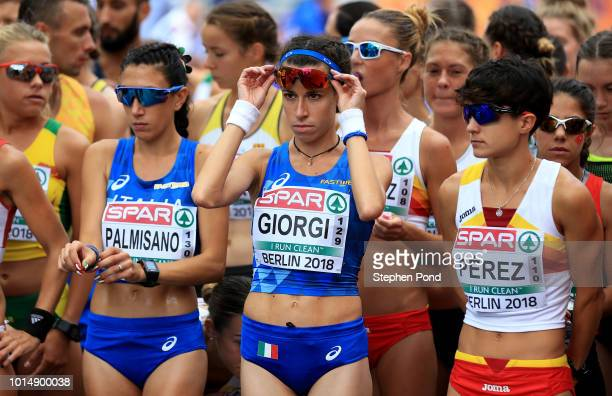 Atonella Palmisano of Italy Eleonora Giorgi of Italy and Maria Perez of Spain prepare to compete in the Women's 20km Race Walk during day five of the...