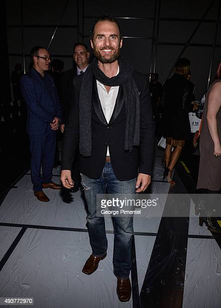 Ator Greg Bryk attends day 3 of World MasterCard Fashion Week Spring 2016 Collections at David Pecaut Square on October 21 2015 in Toronto Canada