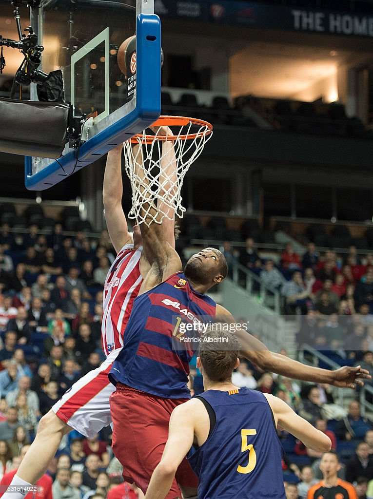 Atoumane Diagne, #12 of U18 FC Barcelona Lassa in action during the Turkish Airlines Euroleague Basketball Adidas Next Generation Tournament Championship game between U18 FC Barcelona Lassa v U18 Crvena Zvezda Telekom Belgrade at Mercedes Benz Arena on May 15, 2016 in Berlin, Germany.