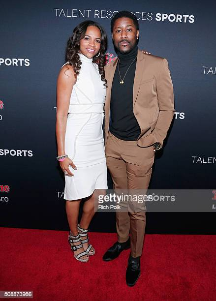 Atoya Burleson and NFL player Nate Burleson attend Rolling Stone Live SF with Talent Resources on February 7 2016 in San Francisco California
