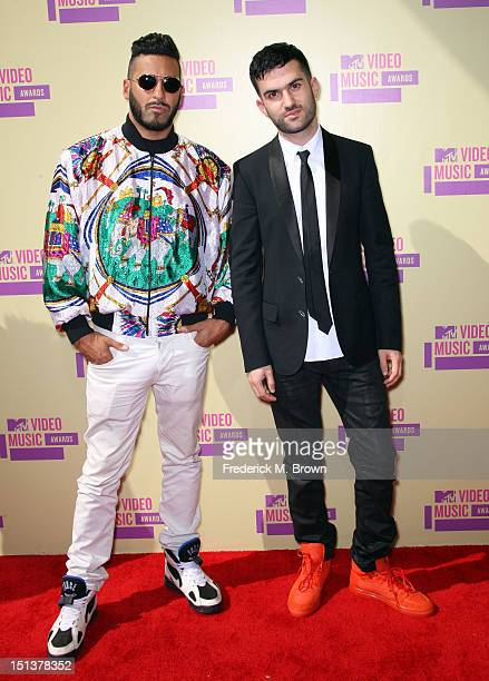 Trak and Armand Van Helden of Duck Sauce arrive at the 2012 MTV Video Music Awards at Staples Center on September 6 2012 in Los Angeles California