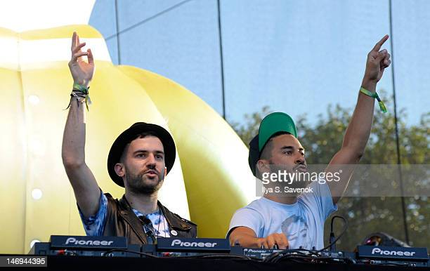 Trak and Armand Van Helden of Duck Sauce perform during the 2012 Governors Ball Music Festival at Randall's Island on June 23 2012 in New York City