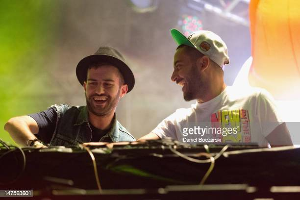 Trak and Armand Van Helden of Duck Sauce perform on stage during Wavefront Music Festival at Montrose Beach on July 1 2012 in Chicago Illinois