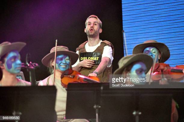 Trak performs as a special guest on the Mojave stage during week 1 day 2 of the Coachella Valley Music and Arts Festival on April 14 2018 in Indio...
