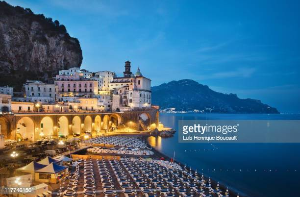 atrani and blue hour - sorrento italy stock pictures, royalty-free photos & images