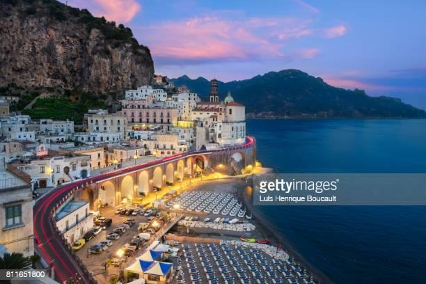 atrani & sunset - amalfi coast stock photos and pictures