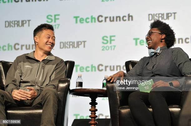 Atrium LTS Founder and CEO Justin Kan and TechCrunch moderator Megan Rose Dickey speak onstage during TechCrunch Disrupt SF 2017 at Pier 48 on...