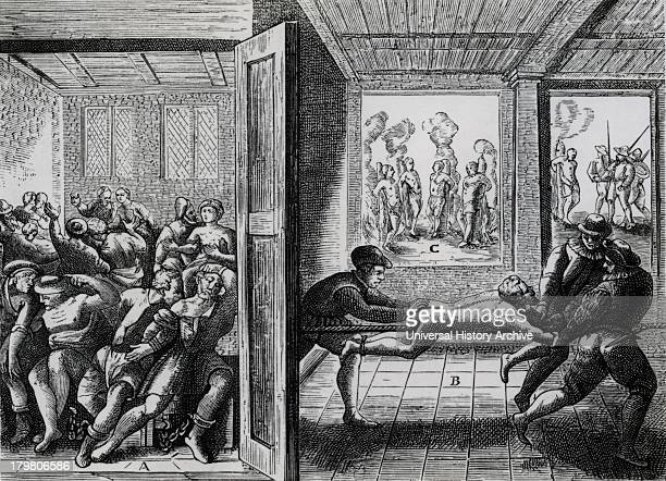 Atrocities perpetrated against French Roman Catholics by Huguenot Protestants Left Chained in pairs and shut in room without food or water Right...