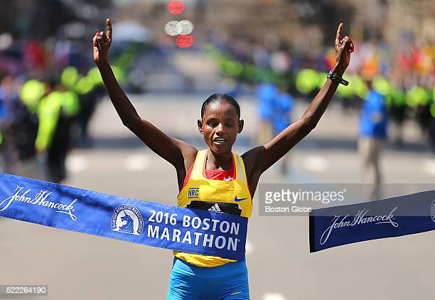 Atsede Baysa of Ethiopia crosses the finish line to win the womens race in the the 120th Boston Marathon on Monday April 18 2016