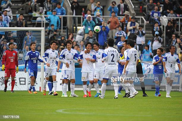Atsuhiro Miura celebrates with team-mates after scoring a goal during the Atsuhiro Miura Retirement match at Nippatsu Mitsuzawa Stadium on November...