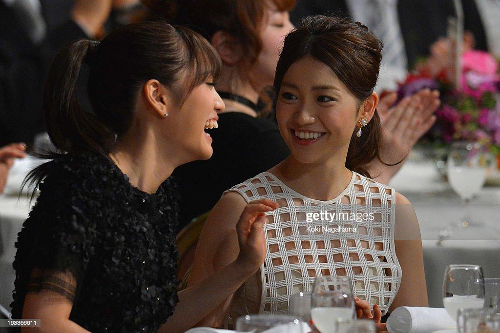 Atsuko Maeda and Yuko Oshima talk during the 36th Japan Academy Prize Award Ceremony at Grand Prince Hotel Shin Takanawa on March 8, 2013 in Tokyo, Japan.
