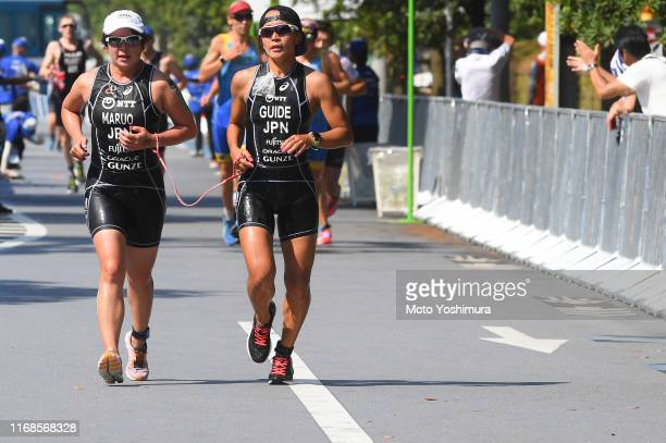 Atsuko Maruo of Japan competes in the Women's PTVI run during the ITU Paratriathlon World Cup on August 17, 2019 in Tokyo, Japan.