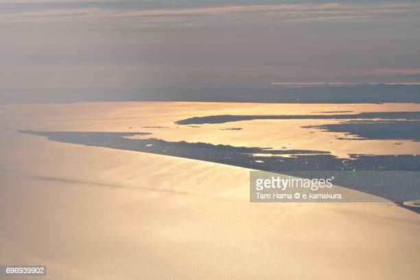 Atsumi Peninsula and Ise Bay in Aichi prefecture sunset time aerial view from airplane