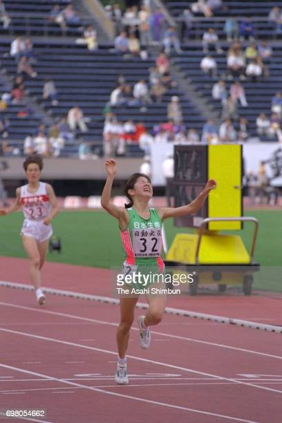 Atsumi Yashima celebrates winning the Women's 5000m with the new Japan record in the All Japan Athletic Championships at the National Stadium on June...