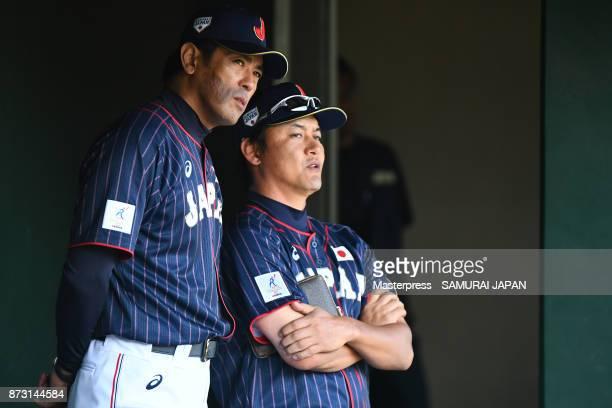 Atsunori Inaba and Makoto Kaneko of Samurai Japan looks on during the practice game between Japan and Hokkaido Nippon Ham Fighters at Sokken Stadium...