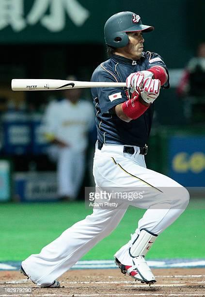 Atsunori Inaba of Japan at bat during the World Baseball Classic First Round Group A game between Brazil and Japan at Fukuoka Yahoo Japan Dome on...