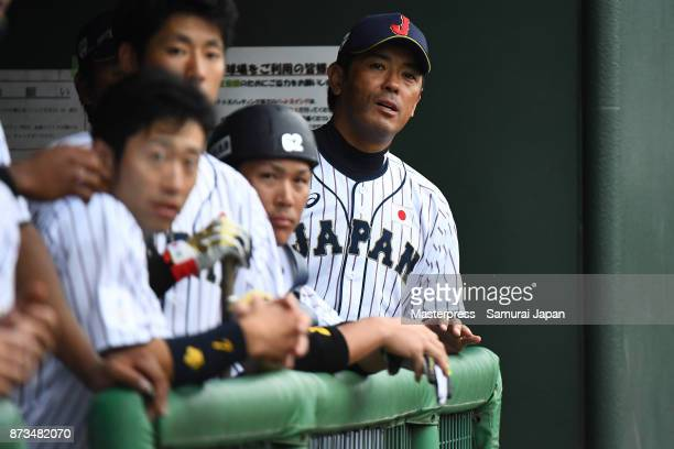 Atsunori Inaba of Samurai Japan looks on during a practice game between Japan and Saitama Seibu Lions at Sokken Stadium on November 13 2017 in...
