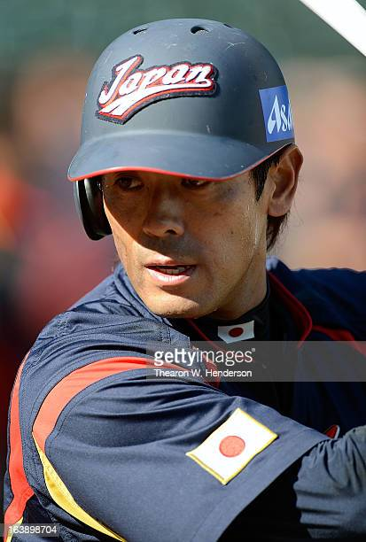 Atsunori Inaba of Team Japan looks on during batting practice before playing Team Puerto Rico in the Semifinal Game 1 of the World Baseball Classic...