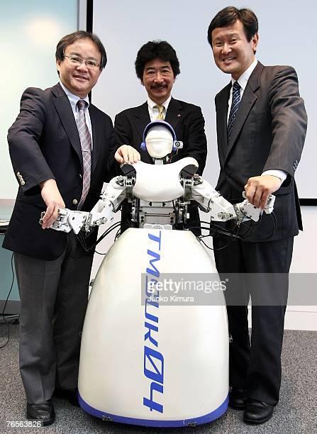 Atsuo Takanishi professor of Waseda University Yoichi Takamoto President of tmsuk one of the Japanese leading robot developers and Shuichi Kajisa CTO...