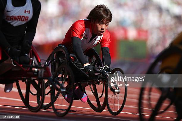 Atsuro Kobata of Japan competes in the Men's 100m T34 heats on day 10 of the London 2012 Paralympic Games at Olympic Stadium on September 8 2012 in...