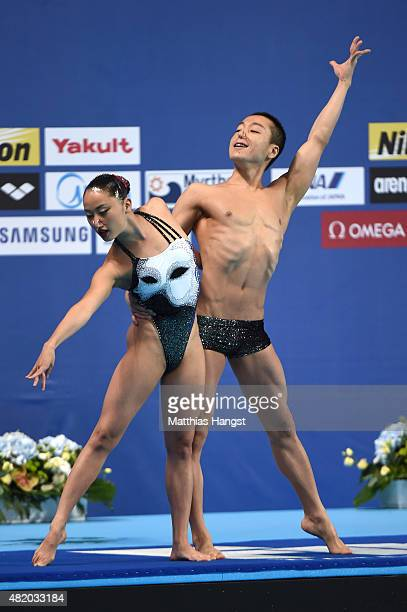 Atsushi Abe and Yumi Adachi of Japan compete in the Mixed Duet Technical Synchronised Swimming Final on day two of the 16th FINA World Championships...