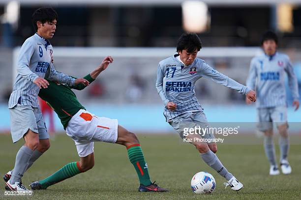 Atsushi Kikutani of Seiwa Gakuen in action during the 94th All Japan High School Soccer Tournament second round match between Aomori Yamada and Seiwa...