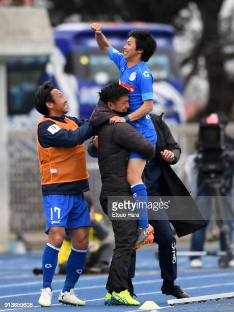 Atsushi Kurokawa of Mito Hollyhock celebrates scoring his side's second goal during the preseason friendly match between Mito HollyHock and Kashima...