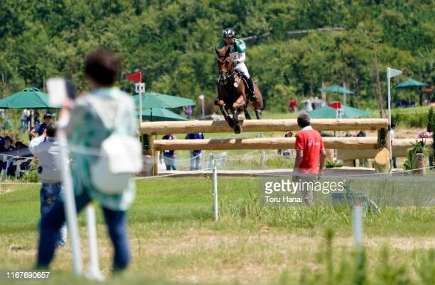 Atsushi Negishi of Japan riding Vinka's JRA competes in the Cross-Country during day two of the Equestrian Tokyo 2020 Test Event at Sea Forest...