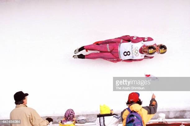 Atsushi Sasaki and Kei Takahashi of Japan compete in the Luge Doubles during day six of the Nagano Winter Olympic Games at Spiral on February 13 1998...