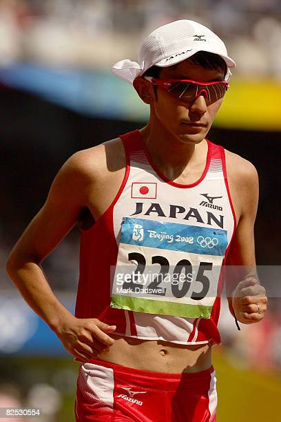 Atsushi Sato competes in the Men's Marathon held at the National Stadium during Day 16 of the Beijing 2008 Olympic Games on August 24 2008 in Beijing...