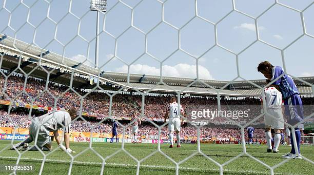 Atsushi Yamagisawa of Japan shows his dejection after missing a chance during the FIFA World Cup Germany 2006 Group F match between Japan and Croatia...