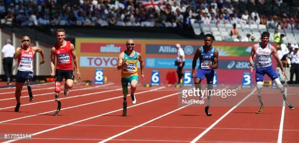 LR Atsushi Yamamoto Daniel Wagner Scott Reardon Desmond Jackson 9USA and David Henson compete in Men's 100m T42 Round 1 Heat 2during IPC World Para...