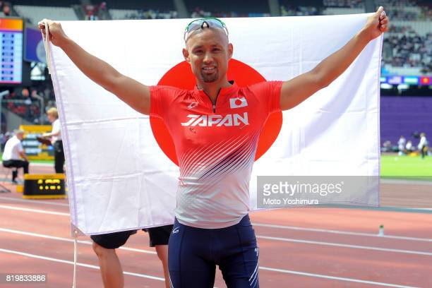 Atsushi Yamamoto of Japan celebrates winning the silver medal in the Men's Long Jump T42 during Day Five of the IPC World ParaAthletics Championships...