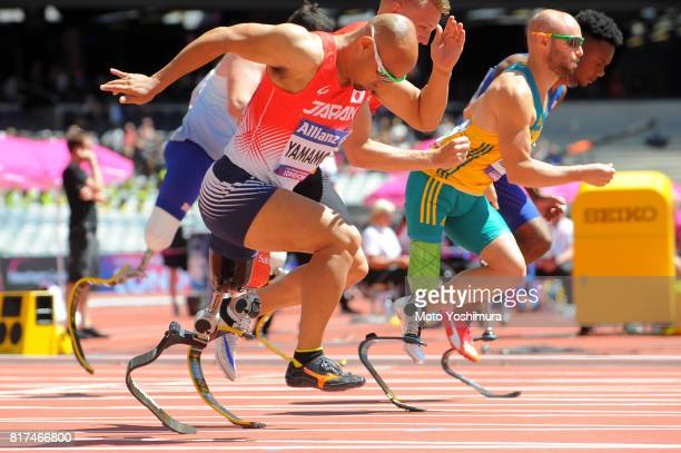Atsushi Yamamoto of Japan competes in the Men's 100m T42 during day four of the IPC World ParaAthletics Championships 2017 at London Stadium on July...